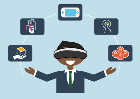 humane: Virtual reality concept as illustration of business man using VR headset