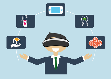 headset business: Virtual reality concept as illustration of business man using VR headset