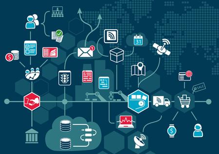 Concepto de computación en la nube con los dispositivos conectados Vaus dentro del flujo de trabajo del negocio de Internet de las cosas