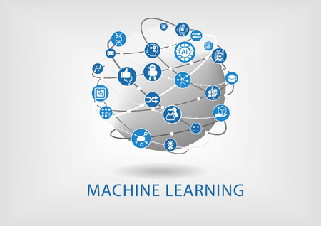 machine: Vector infographic of machine learning concept