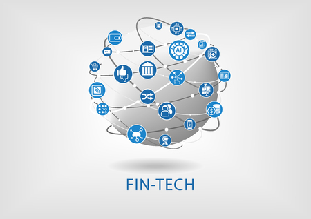 disruption: Vector infographic of fin-tech (financial technology) concept Illustration