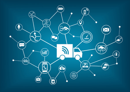 Smart connected trucks infographic Vectores