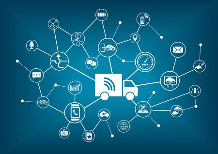smart: Smart connected trucks infographic Illustration
