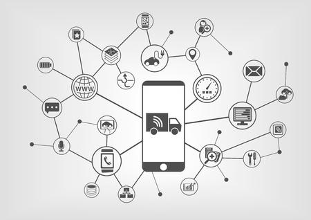 Camiones y conectados infografía conducción autónoma con el teléfono elegante Ilustración de vector