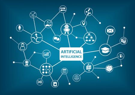 inteligencia: Inteligencia Artificial (IA) ilustración vectorial infografía