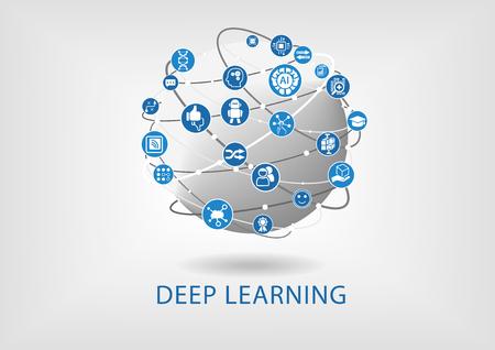 aprendizaje: concepto de aprendizaje profundo como ilustración vectorial Vectores