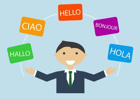 Concetto di uomo d'affari multi-lingue che parla molte lingue diverse