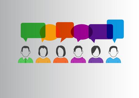 Flaches Design Vektor-Illustration der Kommunikation zwischen verschiedenen Menschen mit bunten Sprechblasen