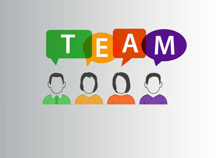 diverse group: Team concept as vector illustration of group of diverse workforce communicating with eachother Illustration