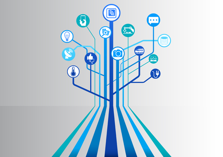 Internet of things (IOT) infographic and technology background for connected devices Vectores