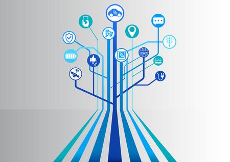 Self-driving car smart infographic as vector illustration Illustration