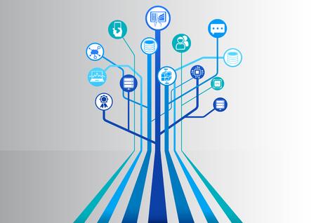 Data center et batterie de serveurs comme infographique illustration vectorielle