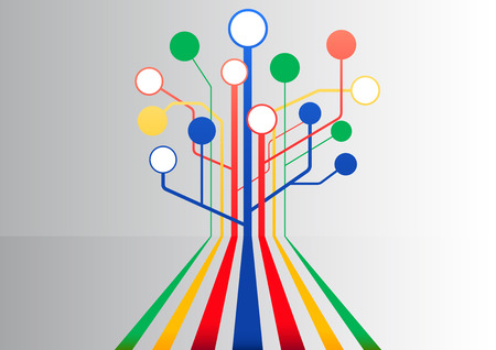visualize: Colorful infographic and background to use as template to visualize information flow