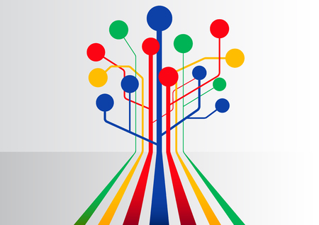 branching: Colorful abstract business background with multiple lines branching out to form a tree structure
