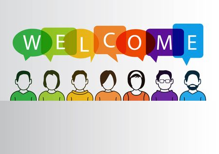 Colorful welcome background with simplified cartoon characters