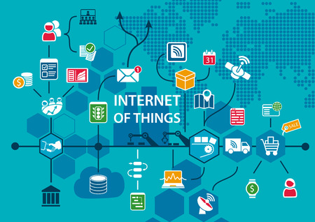 Internet of things IOT conceptual background with workflow of end to end supply chain as vector illustration