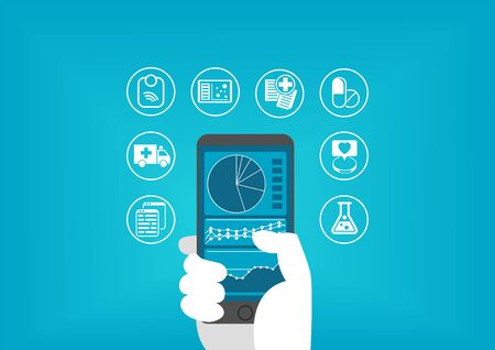 disruption: Electronic healthcare (e-health) concept with hand holding smart phone to access digital medical records of patients