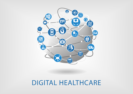 digitization: Digital healthcare infographic as vector illustration