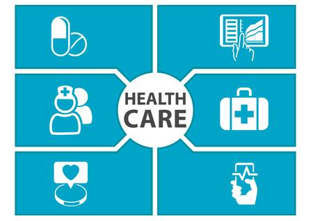 fondo E-cuidado de la salud con los símbolos de los dispositivos modernos como teléfonos inteligentes, tabletas, ficha electrónica