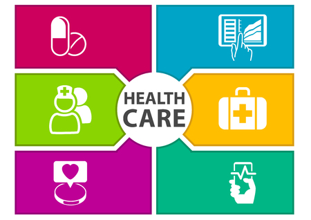 doctors and patient: Colorful digital healthcare background with icons Regarding wearables, dashboard, tablets, medicine, smart phone Illustration