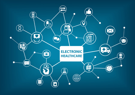 doctors and patient: Electronic healthcare background as vector illustration in a digitized hospital