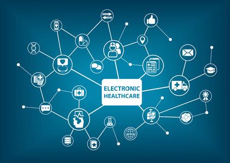 Elektroniczne tle opieki zdrowotnej jako ilustracji wektorowych w szpitalu zdigitalizowanych