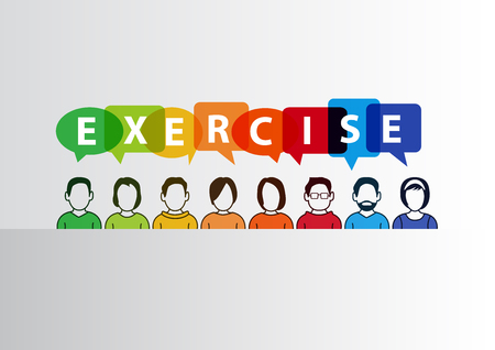 slideshow: Workshop exercise concept as vector illustration with illustration of group of people.