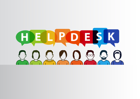 Helpdesk vector illustration of group of call center employees ready to help. Ilustracja