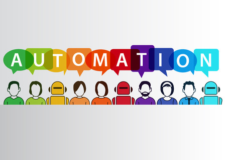 Process automation concept as background. Vector illustration of mixed group of people and machines and robots Vettoriali