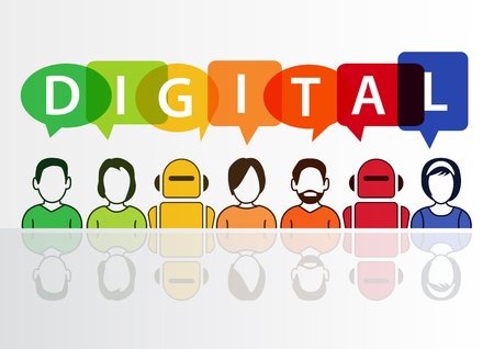 Digital and digitization conceptual background. Vector illustration of colorful group of people and robots Stock Illustratie