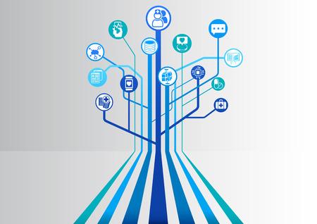 la santé numérique et fond bleu hôpital illustration vectorielle avec des lignes parallèles ramification dans une structure arborescente Vecteurs