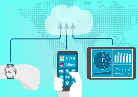 Concepto de salud conectado y el rastreador de fitness y dispositivos tales como: teléfono inteligente, tableta y portátil para un estilo de vida digital