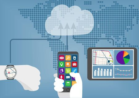 Cloud computing concept with connected mobile devices synchronizing data to the cloud. Vektoros illusztráció