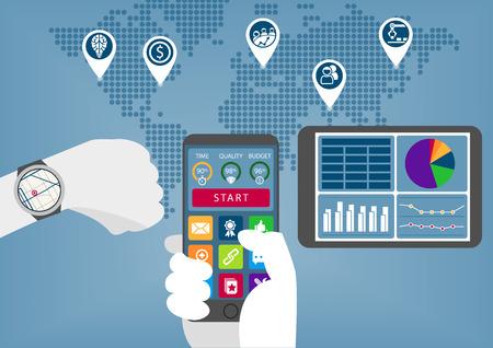 Mobile infographique numérique d'affaires avec la main tenant un téléphone intelligent et montre