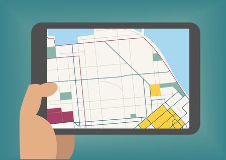 Digital concepto de mapas móvil como ilustración vectorial con la tableta de la mano