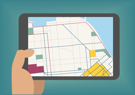 hand holding: Digital mobile maps concept as vector illustration with hand holding tablet Illustration