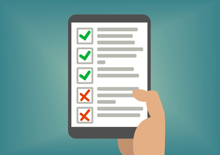 personal assistant: Digital checklist or todo-list Displayed on tablet screen. Concept of passed exam or completed tasks. Illustration