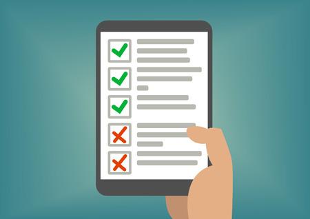 Digitale checklist en todo-lijst weergegeven op tablet-scherm. Concept van geslaagd examen of voltooide taken.