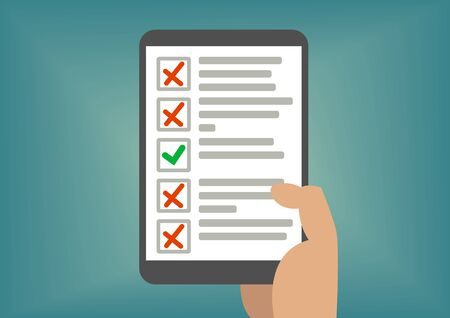 pass test: Digital checklist or todo-list Displayed on tablet screen. Concept of failed exam or missed tasks. Illustration