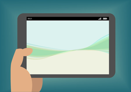humane: Hand holding tablet as illustration with simple wallpaper Illustration