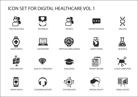 sciences: Digital healthcare and medicine icon set