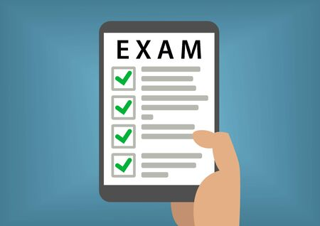 passed: Passed online exam and test concept with hand holding smart phone