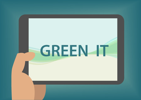 green it: Green IT concept with hand holding smart phone