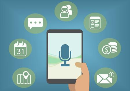 Numérique concept assistant personnel avec reconnaissance vocale afin de récupérer les e-mails, messages instantanés, des entrées d'agenda