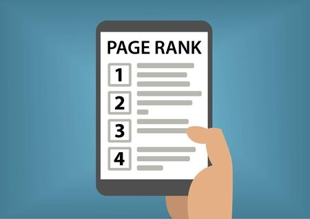 rank: Page rank and search result concept with hand holding smart phone Illustration