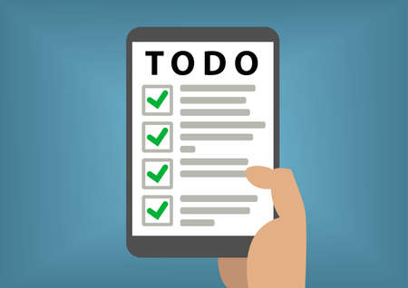 todo list: Digital todo list concept with hand holding smart phone