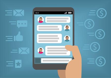 La comercialización en línea a través de las redes sociales y mensajería instantánea como concepto para la obtención de ingresos con el teléfono elegante