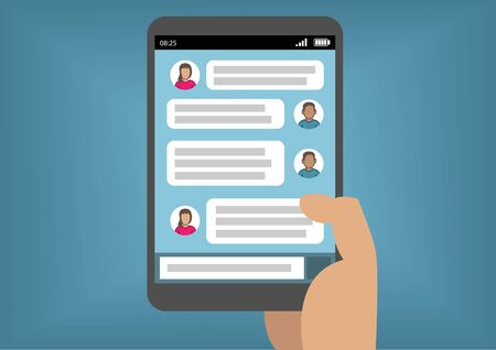 instant messaging: Mobile instant messaging concept with hand holding smart phone or tablet as vector illustration