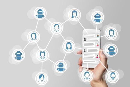 Chatbot concept with instant messenger Displayed on smart phone