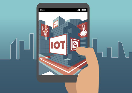 IOT and augmented reality concept with hand holding smart phone
